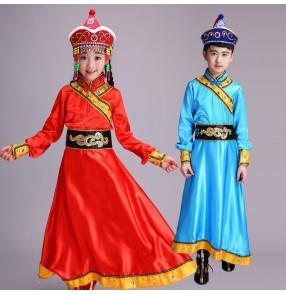 Children's Mongolian dance clothes Ethnic mongolia performance costumes boys girls Mongolian robe costumes children dance ethnic minority stage costumes