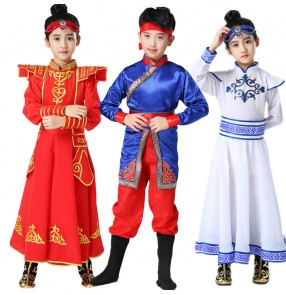 Children's Mongolian dresses Tibetan dance costumes Boys girls minority performance costume Mongolian skirt for kids