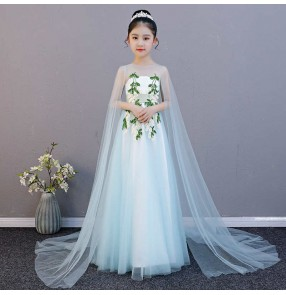 Children's Piano singers performance costume dress elegant light green custom  model show solo art test stage performance long dress