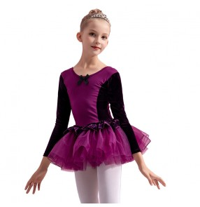 Children's pink blue ballet dance dress tutu skirts girls practice clothes long sleeves cotton ballet skirt grade examination Latin costumes for kids