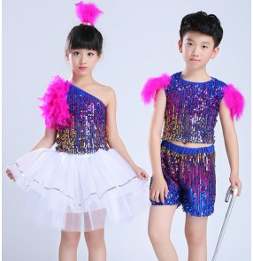 Children's pink blue jazz Dance Costumes Child Modern Stage Shows Sequins Girls Boy Hip Hop Dancing gogo dancers Costumes