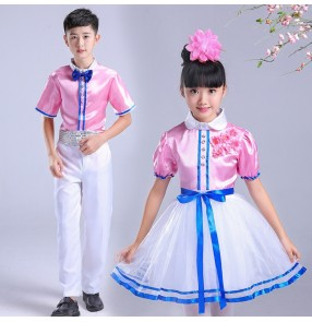 Children's pink colored choir dresses stage performance chorus costumes for boy girls primary school students poetry recitation children's chorus performance dresses