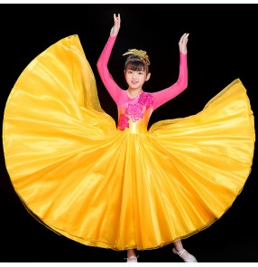 Children's pink flowers red flamenco dresses ballroom dance dress paso doble dance skirts for girls opening dance skirt singing dancing clothes