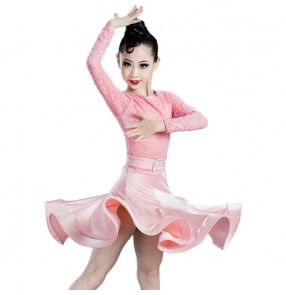 Children's pink lace Latin dance costumes for girls ballroom latin dance dresses Children's Latin dance skirts Competition performance clothes Long sleeves