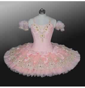 Children's pink professional ballet dresses TUTU skirt girls classical pancake ballerina ballet dance costumes Sleeping Beauty stage costume