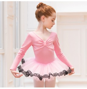 Children's pink purple Ballet tutu skirt dance clothes girls long-sleeved baby tutu skirt girls exercise gymnastics practice clothes
