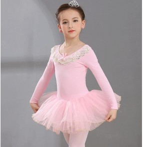 Children's pink tutu ballet dance dress girls long-sleeved gymnastics dancing tutu skirt children's gauze skirt ballet practice clothes