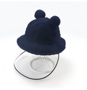Children's plush protective fisherman's hat cap for fall winter new baby anti-droplet fisherman hat detachable anti-dust protection children's ear cap