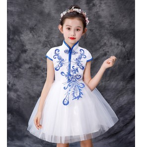 Children's Princess qipao dresses for boys and girls tang suit blue white porcelain choir pettiskirt dance performance costumes Chinese style dress chorus costumes