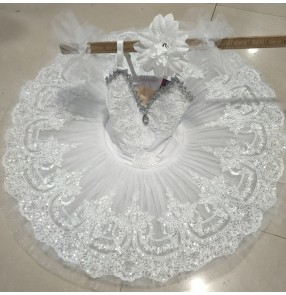 Children's professional Ballet dress pancake tutu skirt White Swan Lake Performance Costume Girls classical pancake Ballet TUTU skirt