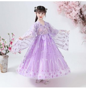 Children's purple Hanfu Girl Costume anime drama cosplay Fairy Dress tang dynasty empress dress Girl Chinese Style Tang Costume Princess Dress