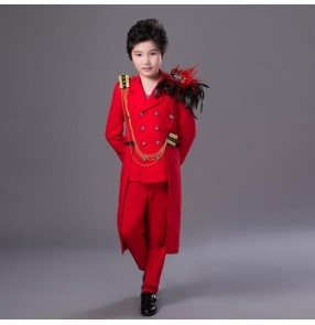 Children's red color feather singer stage performance costumes boys street dance drummer youth party red stage tuxedo coat and long pants