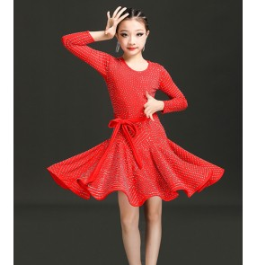 Children's red yellow diamond Latin dance competition clothes Girls professional competition examination training skirts children's latin dance dress