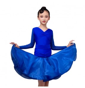 Children's royal blue Latin dance dress girls competition performance latin dance skirt ballroom dance dress for kids
