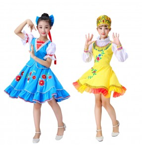 Children's Russian national folk dance dress European court costume Princess skirt maid outfit