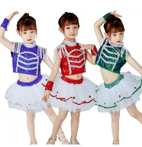 Children's sequined modern dance jazz dance costumes choir dresses kindergarten dance clothes for boys and girls modern dance sequined fluffy skirts