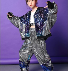 Children's silver blue sequin jazz dance costumes sequins glitter boys girls hip-hop street dance outfits singers gogo dancers modern dance costumes for kids