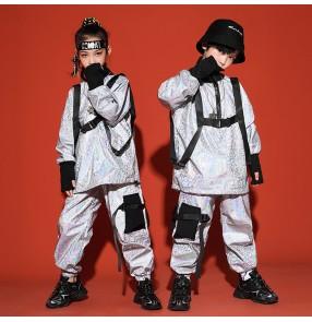 Children's Silver glitter Street  jazz Dance Costumes Boys rap Hip Hop dance Costume Girls Jazz Dance Trendy Costumes Children's Performance clothing