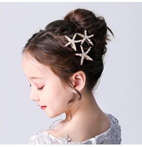 Children's stage performance pianist singer hair accessories starfish headdress princess hairpin girls star hairpin child birthday catwalk show