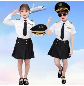 Children's stewardess costumes Girls flight attendant uniform Performance wear kindergarten role playing photos drama cosplay professional wear