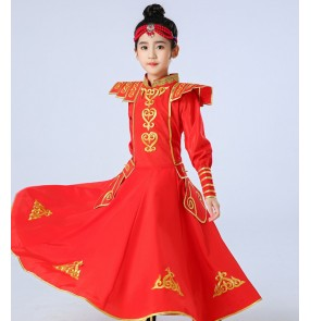 Children's Tibetan Mongolian dance performance dresses Minority ethnic mongolian dance Costume Girls' Performance robes