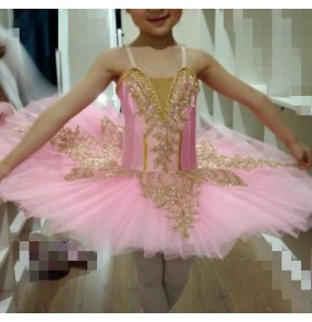 Children's tuu skirt ballet dance costumes white pink little swan lake dance dresses suspenders girls ballet costumes