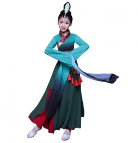 Children's water Sleeves chinese traditional folk dance Costumes kids Plucking Dance Costumes Hanfu dresses Chinese Style fiary dresses Children's Classical Dance Costumes