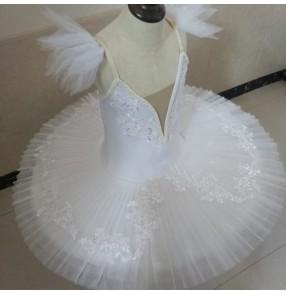 Children's white tutu skirts ballet dance costume girls classical ballerina pancake skirt  little swan lake performance ballet dress for kids