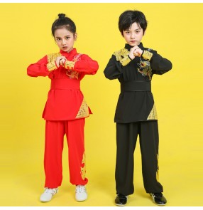 Children's wushu martial arts clothing for boys girls training primary middle school students group practice suit children's chinese dragon Tai Chi performance clothing