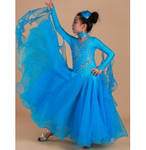 Children's yellow greeen blue ballroom dancing dresses girls National standard professional dance skirt competition dress Children's modern long sleeves ballroom dance skirt