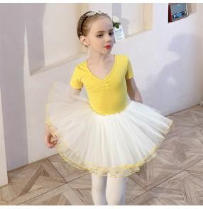 Children's yellow TUTU Skirt ballet dance dress short-sleeved girls ballet exercises practice clothes split suit