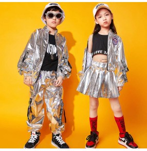 Children silver pu leather street hip-hop jazz dance costumes boys rapper singers gogo dancers drum outfits for girls jazz dance clothes hiphop outfits  tide clothes