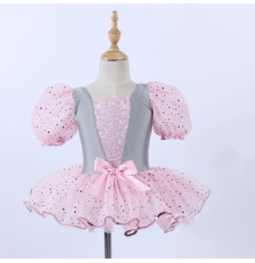 Children silver with pink tu tu skirts ballet dance dresses modern dance stage Performance costumes for girls