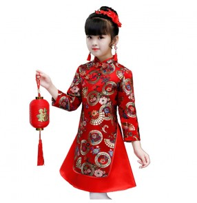 Children stage performance cheongsam chinese qipao dresses Winter Tang suit girl ancient costume red Chinese style New Year's clothing New Year costume