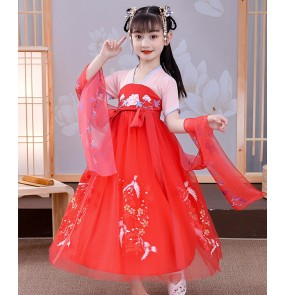 Children traditional chinese hanfu anime drama cosplay fairy dress photos shooting model show princess dresses for kids girls