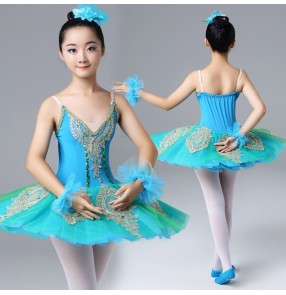 Children turquoise ballet dance dresses modern dance tutu skirt stage performance ballet dance costumes