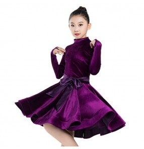 Children velvet latin ballroom competition dance dresses long sleeves stage performance samba salsa chacha dance dress