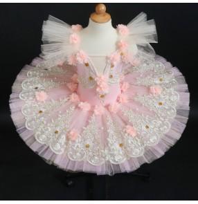Children Violet blue peach color fairy flowers tutu skirts ballerina ballet dance dresses kids sleeping beauty professional tutu skirt professional little swan costume