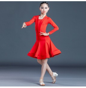 Children violet red blue Latin dance Dresses Girls long-sleeved dance skirt grading competition latin performance costumes