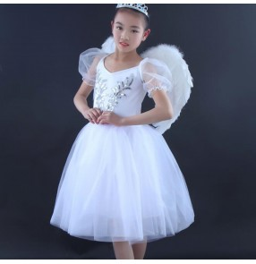 Children white ballet dance dress modern dance stage performance ballet dance costumes