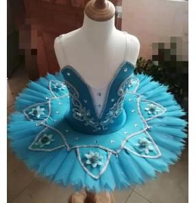 Children white blue pink little swan lake tutu costumes ballet dance dresses fluffy gauze skirt sling Performance ballet dance costumes for girls