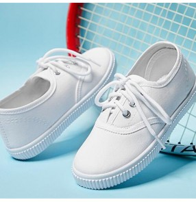 Children white canvas sports shoes Boys kindergarten pupils sneakers white wushu stage performance shoes soft sole