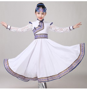 Children white colored Mongolian dance costumes girls Chinese folk dance costumes drama cosplay robes