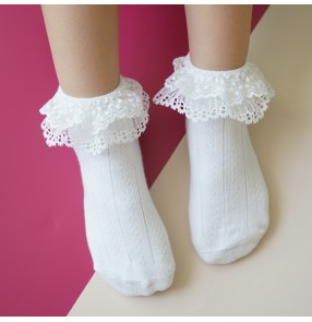Children white lace stage performance short socks ballroom Latin dance girls baby princess white lace socks dance socks cotton