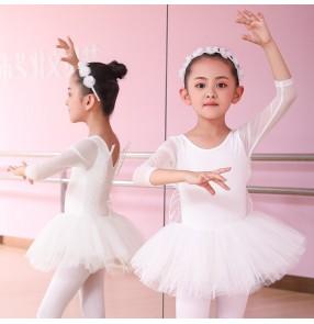 Children white pink butterfly angel wings ballet dance costume girls tutu skirts pettiskirt performance dress long sleeve performance butterfly wings princess dress