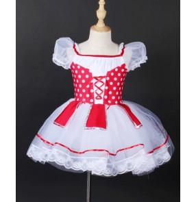 Children White with red polka dot tutu dance skirt Tutu Ballet costume modern ballet dance stage performance costume