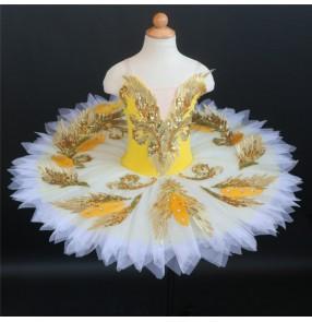 Children yellow blue white little swan lake tutu skirts feather ballerina ballet dance dresses girls professional ballet TUTU skirt Sleeping Beauty costume blue bird show competition skirts