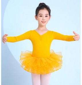 Children yellow turquoise pink tutu skirt ballet Dance dresses girls exercises practice clothes ballet performance test clothes