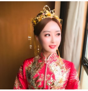 China wedding party brides headdress gold colored empress princess ancient traditional jewelry cosplay hair accessories hairpin