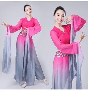 Chinese ancient Chinese folk dance costumes fairy classical stage performance pink gradient water fall sleeves yangko fan dancing cosplay dresses clothes